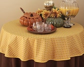 Fall Tablecloth 62 inches Tamaris All Over in Gold -  Umbrella hole  also available