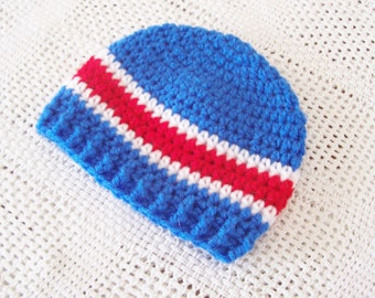 CLEARANCE! RTS 3 to 6 Months Baby Striped Beanie Hat - Red, Blue, White