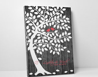 Wedding Guest Book Tree - Wedding Tree Guest Book Poster Wedding Tree - 75-100 Guests - Wrapped Canvas - 16x20,20x30 or 24x36 Inches
