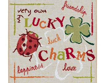 Good Luck Charms – a modern counted cross stitch chart with ladybird and four leaf clover.  English or French version.