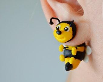 Bees earrings bee earrings two part stud post insect earrings double sided earrings honeybee ear jacket front back earrings dangling earring