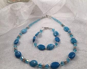 Blue semi-precious stone ornate beaded necklace