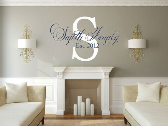 Personalized Family Name Vinyl Wall Decal Name and Eastablished Year Vinyl Wall Decal Housewares Vinyl Wall Decal Living Room Family Room
