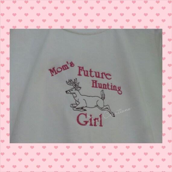 Cute kids shirt Mom's future hunting girl embroidered tshirt
