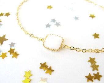 Milk White Bracelet. Bridesmaids jewelry. White charm bracelet. Gold bracelet. Dainty bridesmaids jewelry. White Bridesmaids