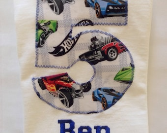 HOT WHEELS BIRTHDAY Shirt. Kids Appliquéd Personalized T-Shirt. Boy Girl Toddler Children's Race Car Party Gift