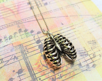 3D ANATOMICAL RIBS NECKLACE - large silver tone chest ribs necklace - gift nurse - one flat rate shipping in my shop :)