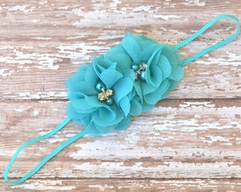Turquoise Flower Headband, Flower Girl Headband, Newborn Headband, Baby Girl Headband, Turquoise Wedding Headband,Turquoise Headband