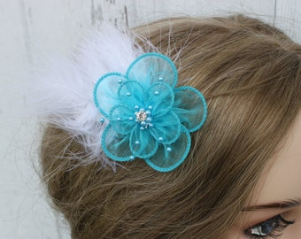Turquoise Flower with Feathers Bridal Clip/ Hair Clip/ Flowergirl/ Bride