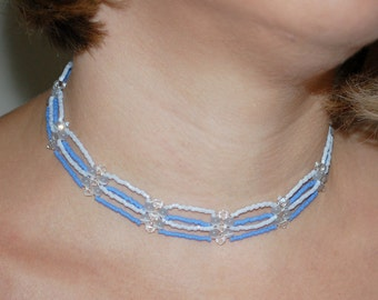 Blue Delica Choker with Clear Swarovski Crystal Accents and Blue Cats Eye