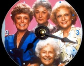 """New GOLDEN GIRLS Wall Clock - CD Size, 4.75"""" diameter. Estelle Getty, Betty White, Bea Arthur, Rue McClanahan. Makes a nice unique gift too!"""