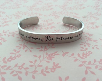 """Hand Stamped Cuff, """"Forget the glass slippers, this princess wears cowgirl boots"""", cowgirl, horsey, high heel, cowboy boots"""