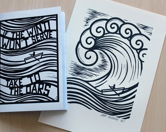 The Big Wave Lino Print + A Copy of 'If The Wind Won't Serve Take To The Oars' Zine / Artist Book