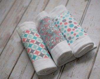 SALE! 3 Pack Baby Burp Cloths, Burp Rags (6 Ply)