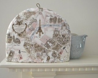 Medium Size ArtisanalTea Cozy - Map of Paris Including The Eiffel Tower City Lions And Paris Monuments - Pastel Pink and Blue on Off White