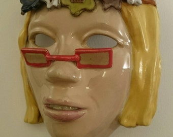 Hand built pottery ceramic Clay mask Hippie