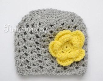 Gray Baby Girl Flower Hat, Gray and Yellow Hat, Gray Crochet Baby Hat, Photo Prop, Newborn Girl Beanie, Textured Baby Girl Hat, Newborn Hat