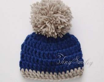 Navy Blue Baby Hat, Pompom Crochet Boy Hat, Blue Newborn Pompom Hat, Pom Pom Hat, Blue Crochet Newborn Hat, Infant Hats, Hospital Hats