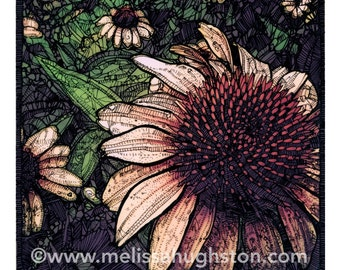 Coneflower (Echinacea) flower artwork - Item #632