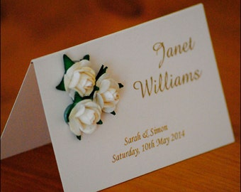 Personalised Rose Wedding Place Cards
