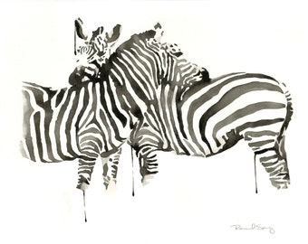 Zebra Watercolor Contemporary Painting Black and White Print