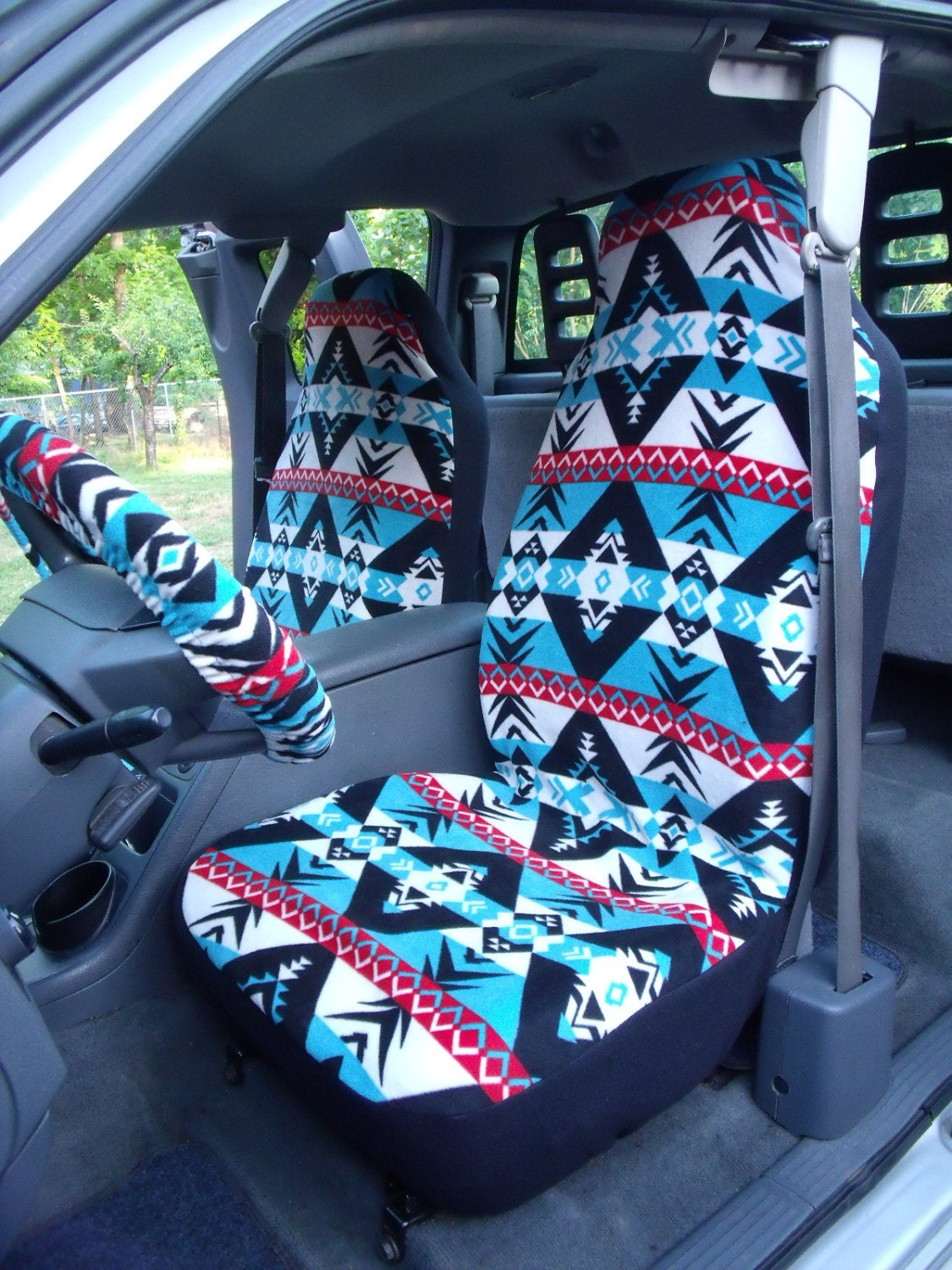 1 set of warrior print seat covers and steering wheel cover. Black Bedroom Furniture Sets. Home Design Ideas