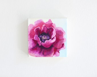 """Hot Pink Poppy Painting by Inna Bagaeva. 6"""" x 6"""" x 1.5"""" Acrylics on Canvas. Flower Painting. Wall Art. Juissip"""