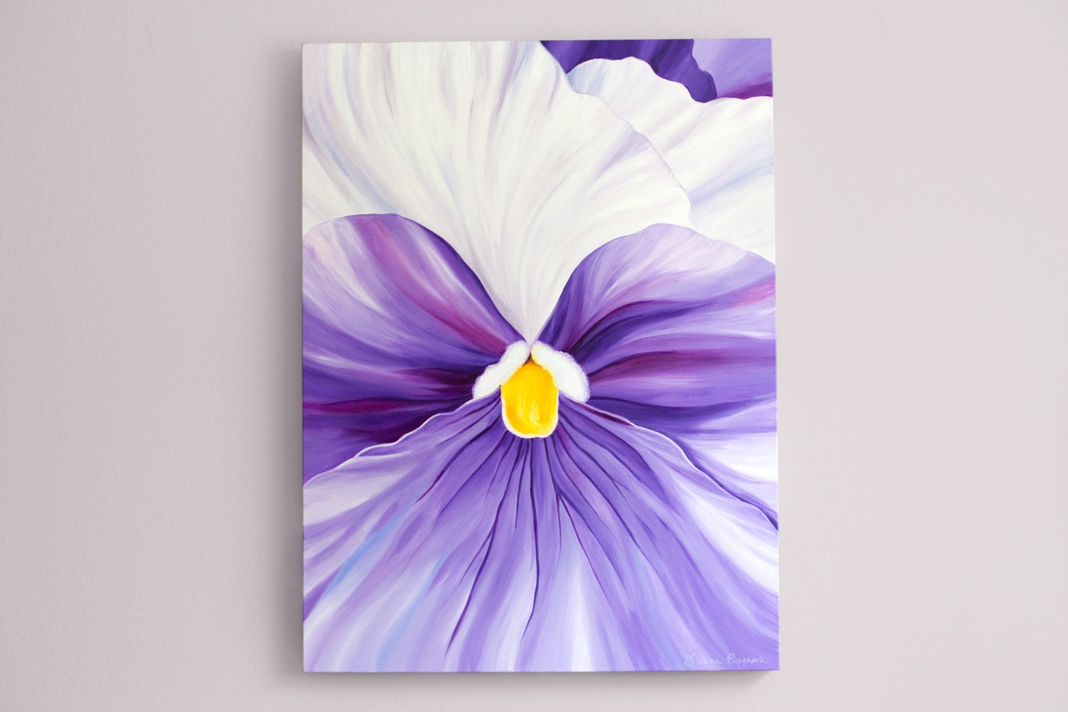 large canvas wall art purple abstract painting flower acrylic