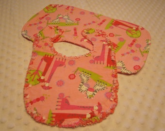 Ready to Ship Baby Girl Giraffe and Zebra Bib and Burp Cloth Set ~ Reversible Triple Layers of Soft Flannel