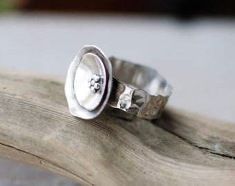 massive silver ring, flower, poppy, hammered, nature, women's ring