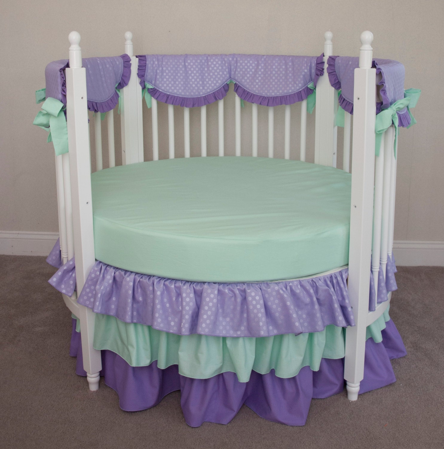 Baby cribs in ghana - Round Crib Bumperless Mint And Lavender Purple Designer Baby Girl Bedding With Rail Guard Covers