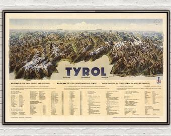 Vintage Poster of Tyrol Austria, Travel Poster Tourism