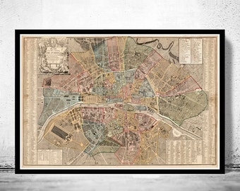 Old Map of Paris 1790 France Vintage Paris Plan