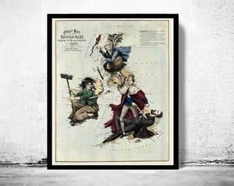 Old Map of United Kingdom, Ireland, Scotland, England 1880 UK, British Isles Comic Map