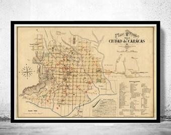 Old Map of Caracas Venezuela 1889