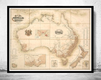 Old Map Australia Oceania New Zealand Antique 1857 Vintage Map