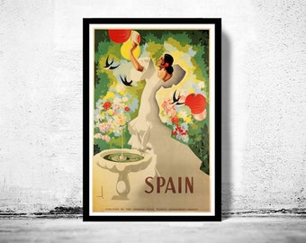 Vintage Poster of Spain, Travel Poster Tourism 1940