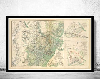Vintage map of Savannah GA Georgia 1895, United States of America