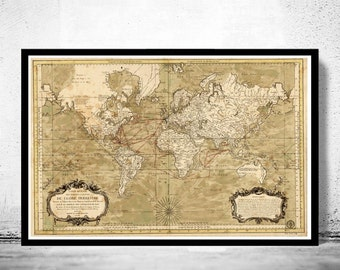 Old World Map 1784 New discoveries