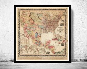 Beautiful Map of United States America 1856