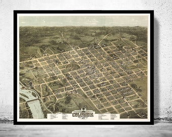 Birdseye View Vintage Map of Columbia South Carolina, Aerial view  United States 1871