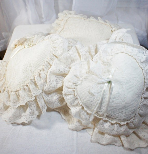 Victorian Shaped Pillows : Lot of lace accent pillows one square 2 hearts by gleaned on Etsy