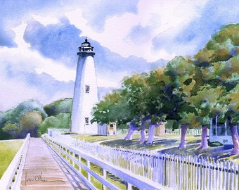 Ocracoke Island Lighthouse, Outer Banks, NC. Matted art prints & 5x7 notecards of original watercolor painting of historic tower.