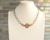 minimalist necklace / fall fashion / short brass chain / modern acrylic disk / pink lepidolite / short chain necklace