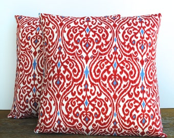 TWO red blue ikat pillow cover, cushion,decorative throw pillow, decorative pillow, accent pillow, 18x18 pillow