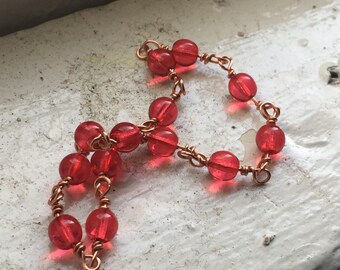 Red Glass & Copper Bracelet