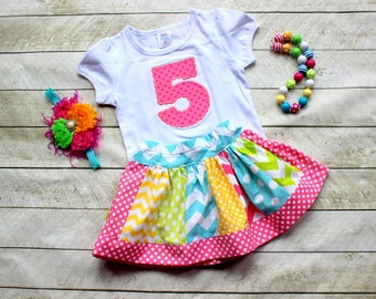 birthday outfit birthday skirt set chevron and polka dot skirt with birthday number applique shirt in hot pink lime green aqua yellow skirt