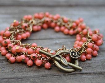 bead cluster bracelet coral bead bracelet coral peach bracelet bridesmaid bracelet bead cluster necklace wedding bracelet toggle clasp