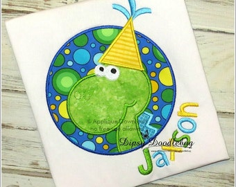 Birthday Circle Dinosaur Applique Design - Instant EMAIL with Download - for Embroidery Machines
