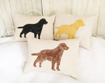 Black Lab Pillow, Yellow Lab Pillow, Chocolate Lab Pillow - dog silhouette, dog lover gift